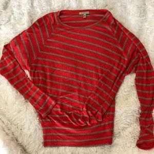 Bordeaux Coral Grey Striped Tunic Gathered Waist